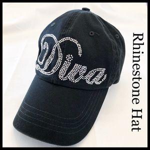 Black Rhinestone Diva Hat